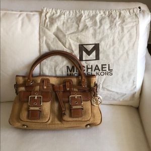 Michael Kors Straw Bag with Leather Trim